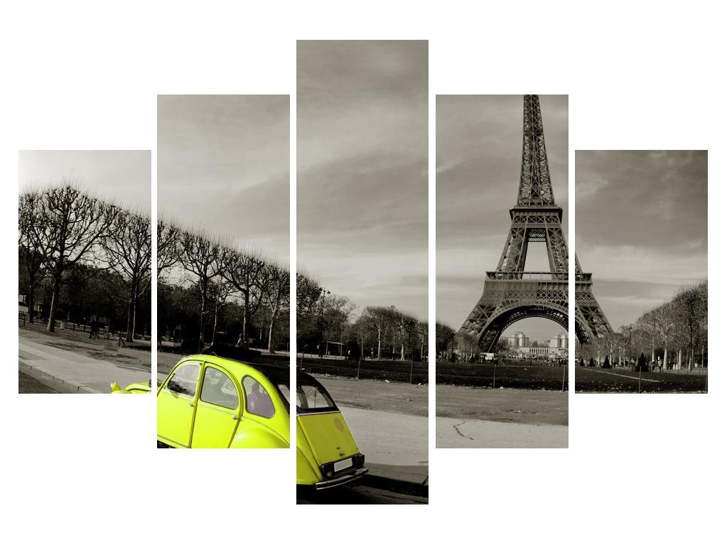 Slika Eiffelovog tornja i žutog automobila (K011377K150105)