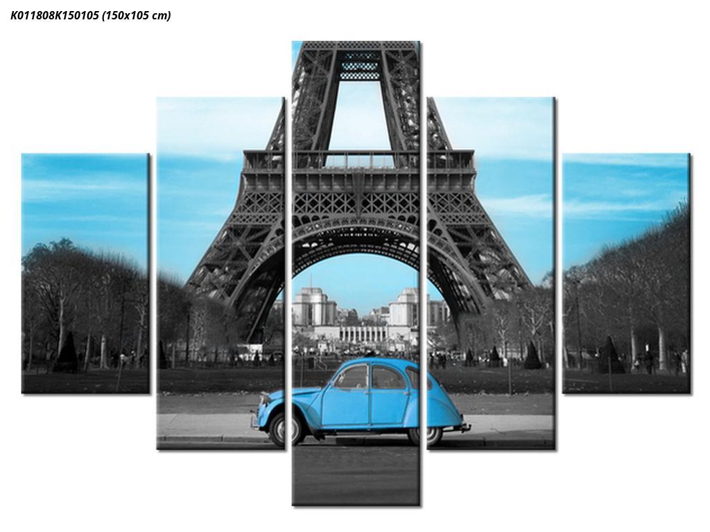 Slika Eiffelovog tornja i plavog automobila (K011808K150105)