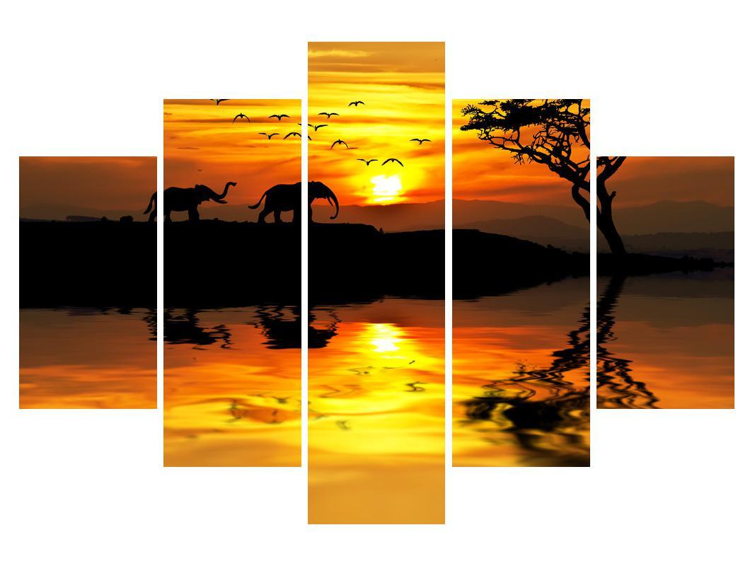 Slika afričkog krajolika sa slonom (K012025K150105)