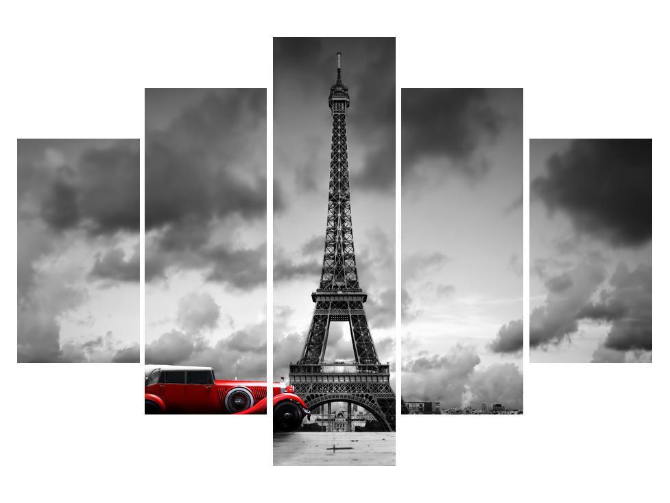 Slika Eiffelovog tornja i crvenog automobila (K012082K150105)