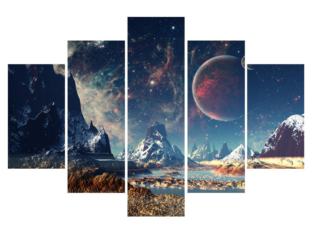 Slika planinskog krajolika s planetima (K012168K150105)
