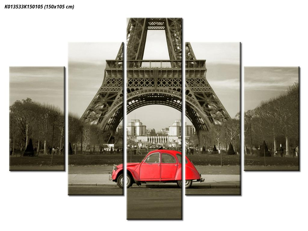 Slika Eiffelovog tornja i crveni automobil (K013533K150105)