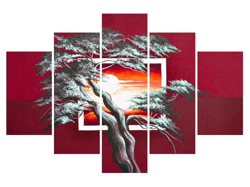 Moderní obraz stromu a východu slunce (K014022K150105)