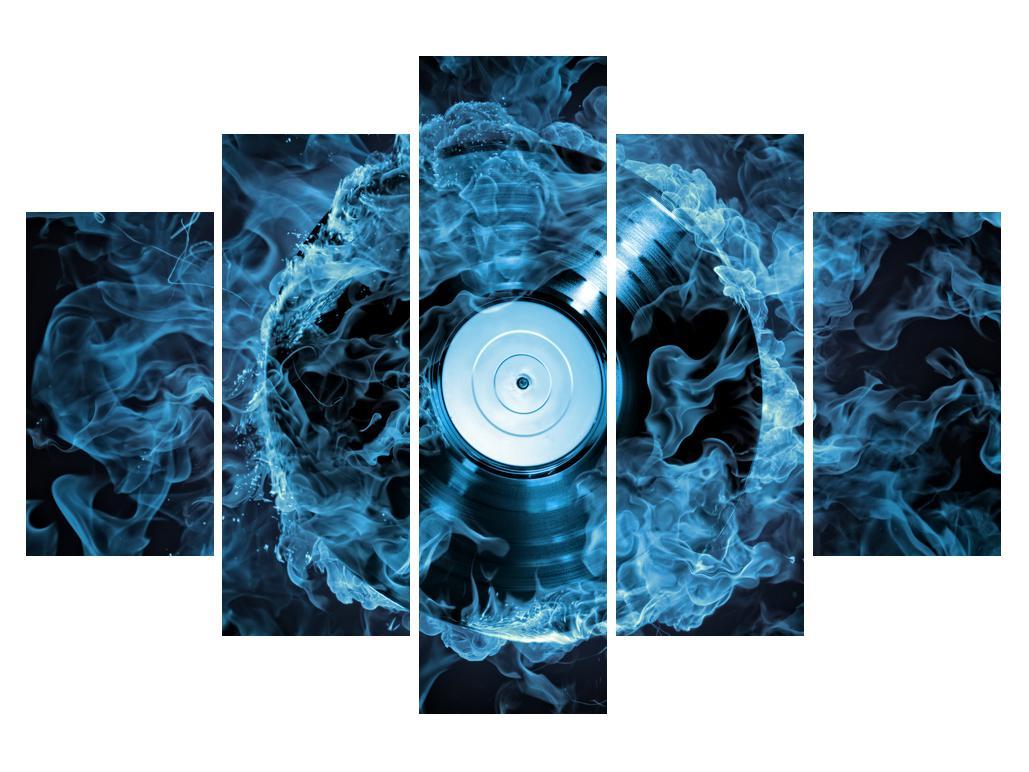 Slika gramofonske plošče v modrem ognju (K014442K150105)