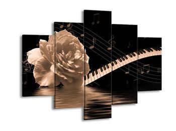 Černobílý obraz růže a klavíru (F001875F150105)