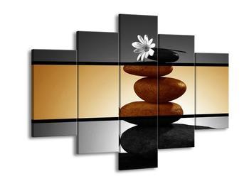 Dvroubarevný obraz kamínků a kvítka (F001956F150105)