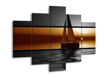 Krásný dvoubarevný obraz plachetnice (F002006F150105)