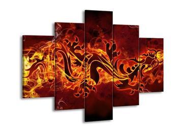 Obraz hořícího čínského draka (F002302F150105)