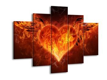 Obraz okřídleného hořícího srdce (F002306F150105)