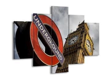 Obraz cedule londýnského metra vedle Big Ben (F002321F150105)