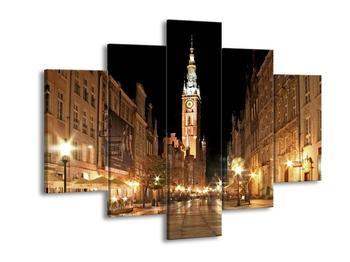 Obraz noční ulice s věží (F002338F150105)