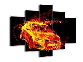 Obraz hořícího auta (F002347F150105)
