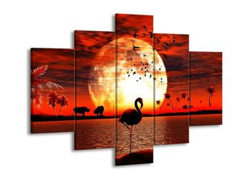 Obraz plameňáka při západu slunce (F002375F150105)