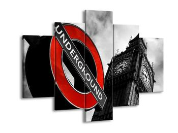 Obraz cedule londýnského metra vedle Big Ben (F002378F150105)