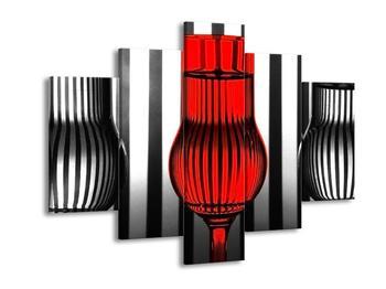 Moderní obraz červené sklenice (F002434F150105)