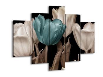 Obraz tulipánů - modrá černobílá (F002479F150105)