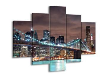 Obraz osvětleného New Yorku s mostem  (F002811F150105)