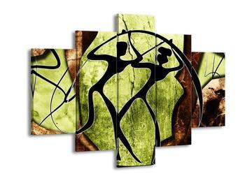 Obraz dvou siluet na zeleném pozadí  (F003505F150105)