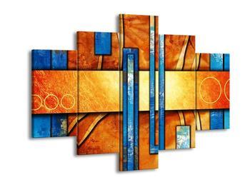 Obraz modrých obdélníků na oranžovém podkladě  (F003532F150105)