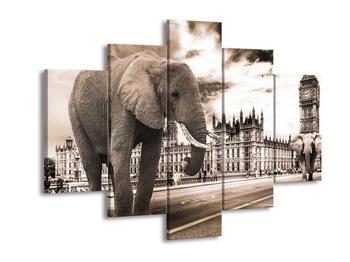 Obraz slona v pozadí s Westminsterským opatstvím  (F003667F150105)