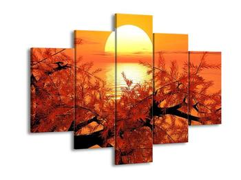 Obraz větve stromu se zapadajícím sluncem  (F003979F150105)