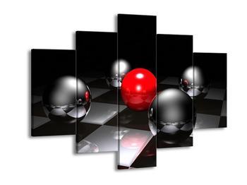 Obraz pěti koulí na šachovnici - červená (F004089F150105)