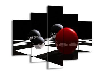 Obraz čtyř koulí na šachovnici - červená (F004098F150105)