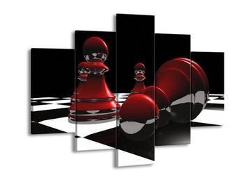 Obraz červených pěšců na šachovnici (F004102F150105)