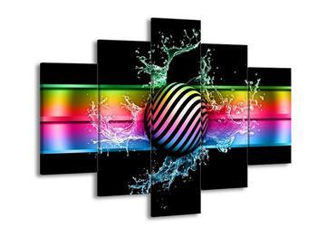 Moderní barevný obraz pruhované koule (F004213F150105)