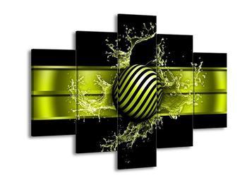 Moderní zelený obraz pruhované koule (F004214F150105)