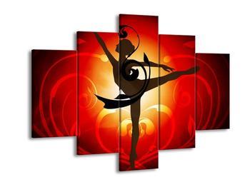 Moderní červený obraz tancující ženy (F004229F150105)