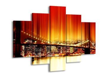 Obraz města s mostem - oranžová (F004236F150105)