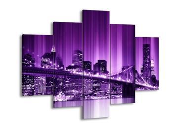 Moderní fialový obraz města New York (F004246F150105)