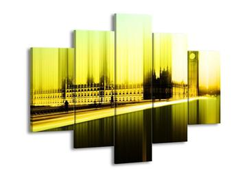 Moderní zelenožlutý obraz Westminsterského paláce (F004248F150105)