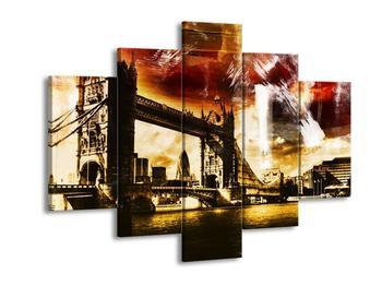 Moderní obraz Tower Bridge s pozadím města (F004249F150105)
