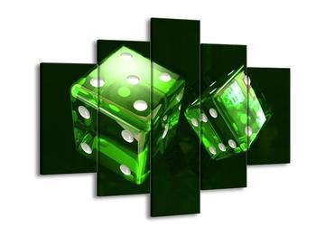 Moderní obraz dvou zelených hracích kostek (F004293F150105)