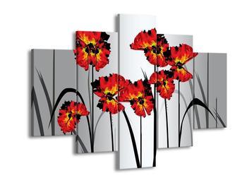 Abstraktní obraz - červené květiny (F005613F150105)