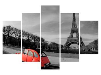 Obraz Eiffelovy věže a červeného auta (K011117K150105)