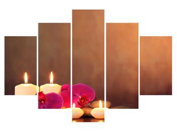 Relaxačný obraz sviečok s orchideou (K011120K150105)