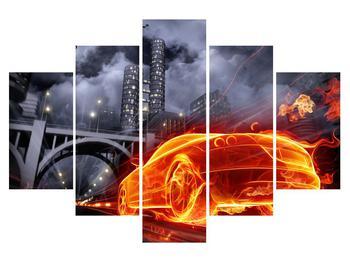 Obraz auta v ohni (K011167K150105)