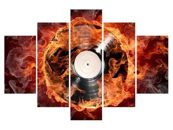Tablou cu placă de gramofon în foc (K011171K150105)