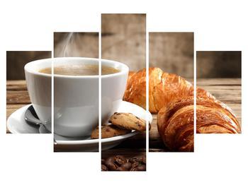 Obraz šálky kávy a croissantu (K011340K150105)