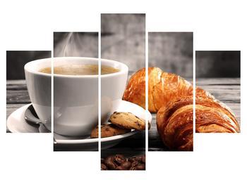 Obraz šálky kávy a croissantu (K011387K150105)