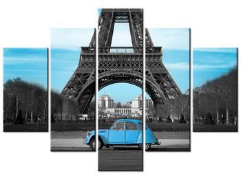 Obraz Eiffelovy věže a modrého auta (K011808K150105)