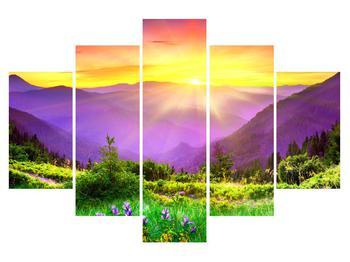 Tablou cu peisaj  montan cu apus de soare (K011873K150105)