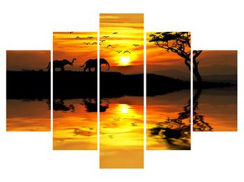 Obraz africké krajiny se slonem (K012025K150105)