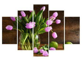 Tablou cu lalele violete în vază (K012155K150105)
