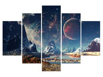 Tablou cu peisaj montan cu planete (K012168K150105)