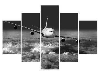 Fekete-fehér kép egy repülőgép a felhők (K012205K150105)