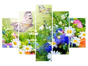 Tablou cu flori de vară cu fluture (K012220K150105)